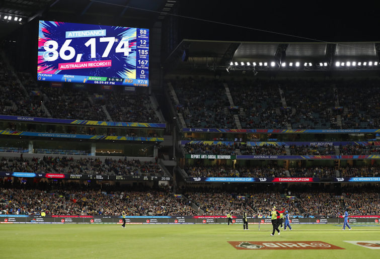 MCG crowd during the ICC Women's T20 Cricket World Cup Final