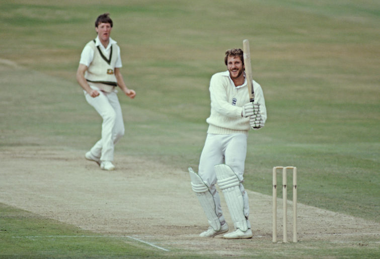 Ian Botham plays a hook shot
