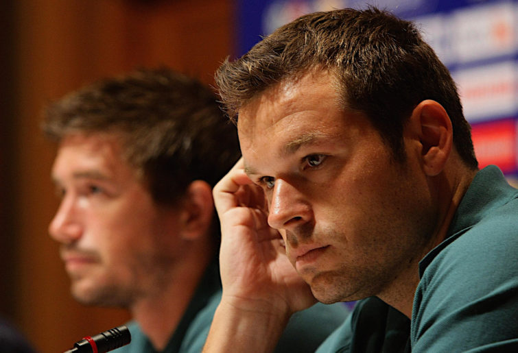 Mark Viduka attends a press conference