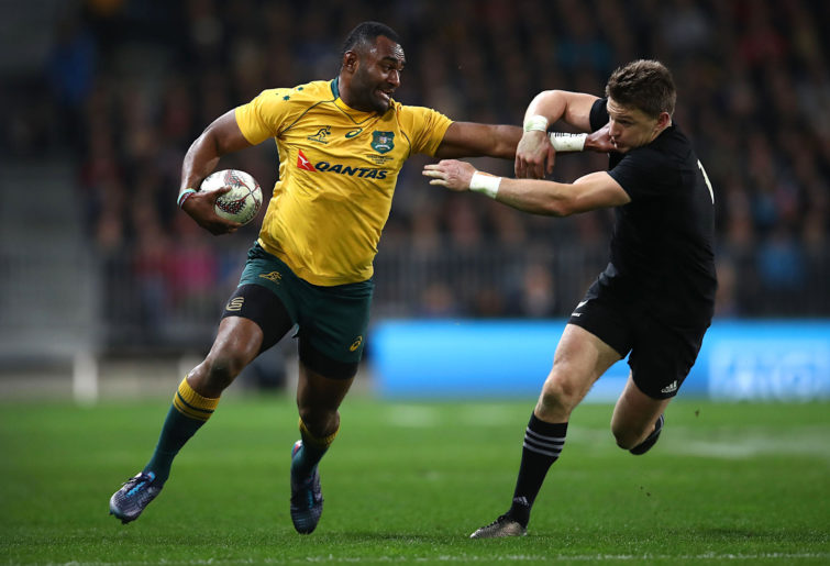 Tevita Kuridrani fends off Beauden Barrett