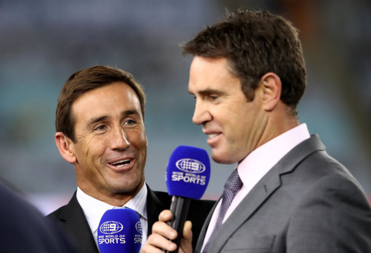 Channel 9 commentators Andrew Johns and Brad Fittler talking.