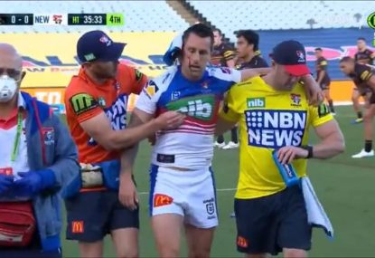 Mitchell Pearce gets knocked into next week after less than five minutes