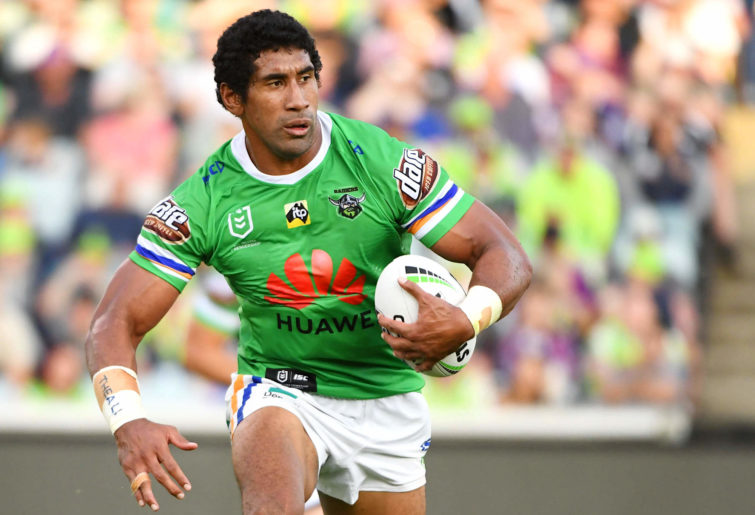Sia Soliola runs the ball for the Canberra Raiders