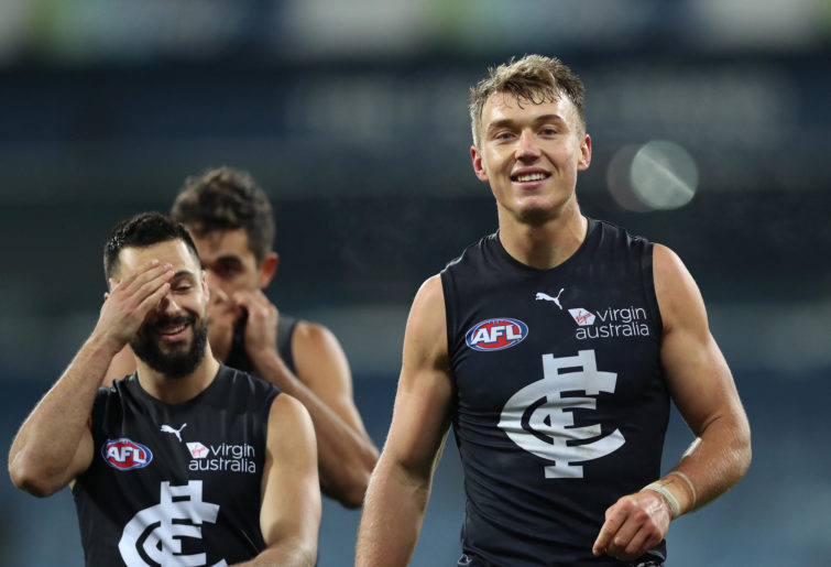 Patrick Cripps of the Blues smiles after victory