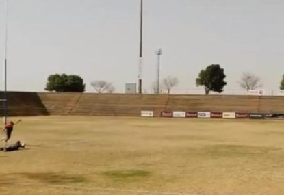 South African makes 80-metre kick at goal look easy