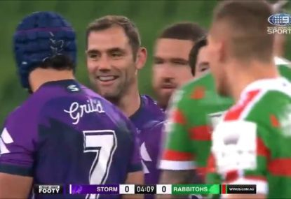 Gus Gould isn't impressed as the knock-on rule goes Cameron Smith's way again