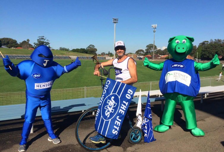 "John Trad doing his ""Laps with Trady"" initiative at Henson Park"