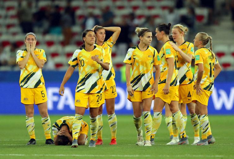 Matildas players look dejected