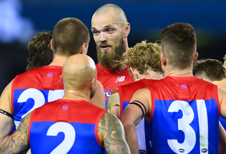 Max Gawn in a Melbourne Demons huddle