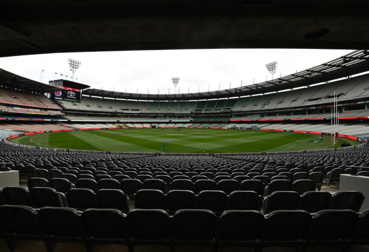 General views of the empty stands at the MCG.
