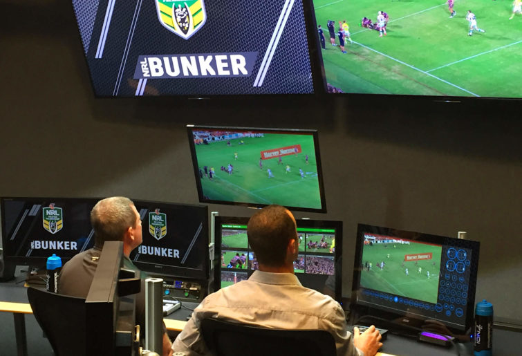 Officials in NRL Bunker.