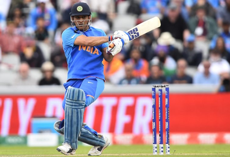 MS Dhoni plays a shot