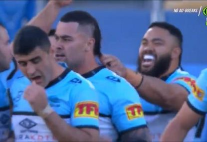 Shark celebrates Andrew Fifita's try in a seriously weird way