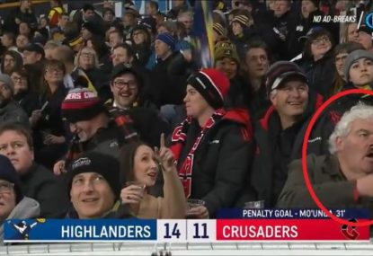 Legendary Super Rugby NZ fan's magnificent reaction to spotting himself on the big screen