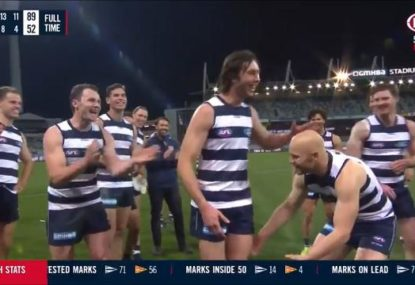 Laughs all round as Cats force 50-gamer to lead them off alongside Selwood and Ablett