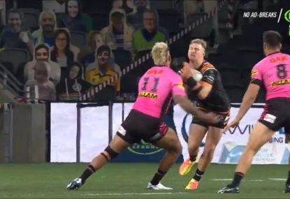'Off the Richter scale!' Viliame Kikau pancakes Tiger with colossal hit 20 seconds in