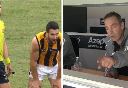 Karma for Clarko? Hawk gets pinged for very harsh holding the ball