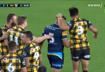 Titans debutant's first touch in the NRL is a dead set shocker