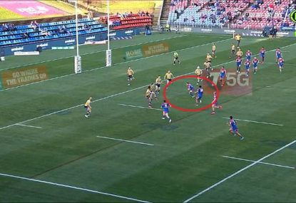 Commentators stunned as Mitchell Pearce throws 'rocket' cut out ball to invisible teammate