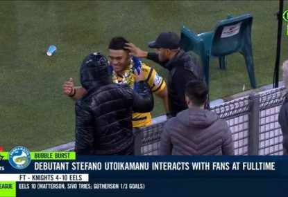 Did an Eels debutant violate social distancing rules in post-match celebration with family?