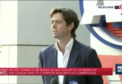 AFL CEO speaks as all 10 Victorian teams prepare to move to Queensland