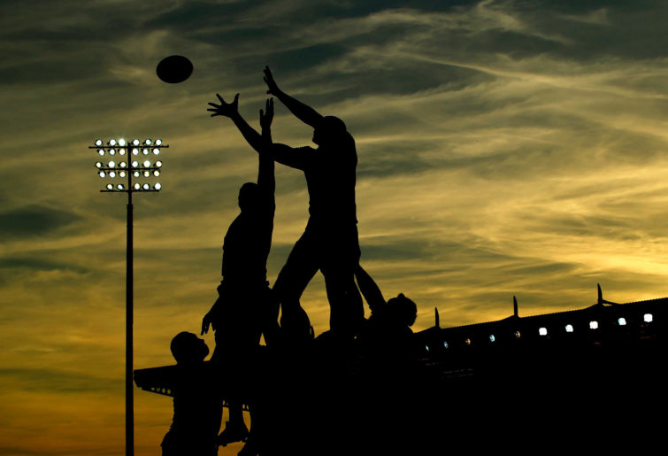 A general view of a lineout at sunset