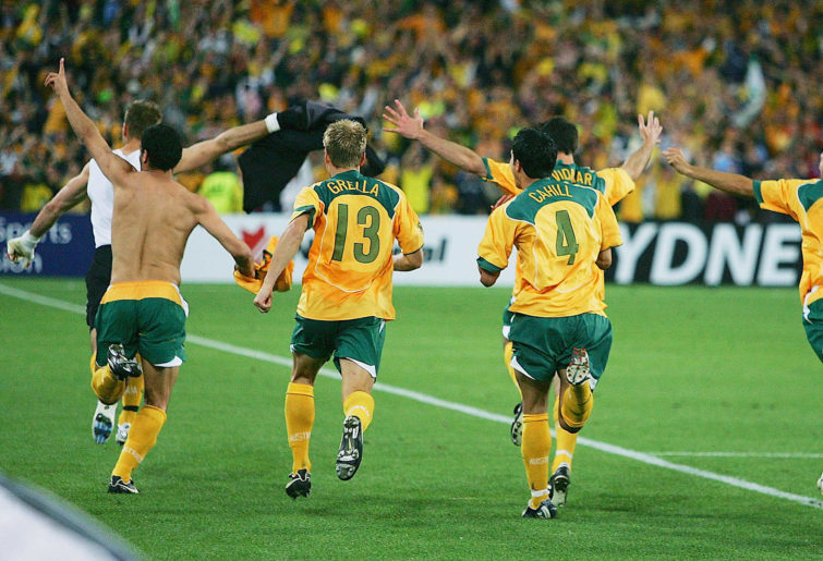Socceroos celebrate after winning World Cup Qualifier vs. Uruguay