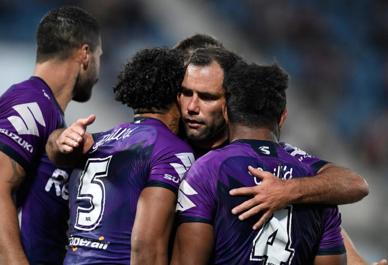 Joshua Addo-Carr and Cameron Smith of the Storm celebrate
