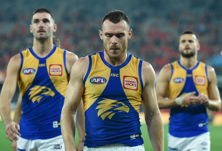 Luke Shuey of West Coast Eagles looks dejected