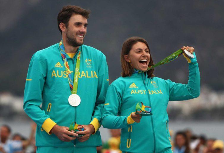 Jason Waterhouse of Australia and Lisa Darmanin of Australia sailing