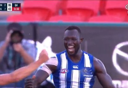 Touching scenes as Majak Daw boots first goal on AFL return