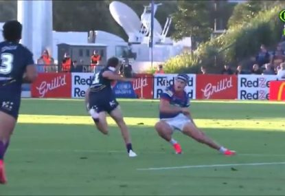 Ryan Papenhuyzen destroys Kalyn Ponga's ankles en route to stunning 100m try
