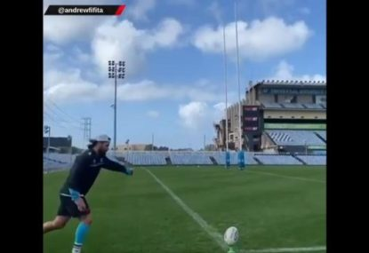Props can kick! Andrew Fifita just proved it with this crazy shot