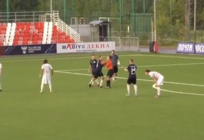Shocking scenes as former Russian captain king hits referee