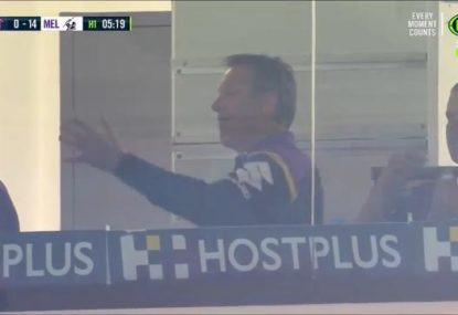 Not even a 14-0 start on the Roosters can stop a Craig Bellamy dummy-spit