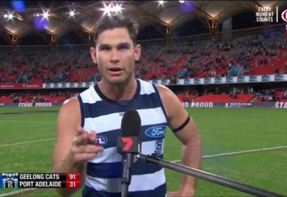Tom Hawkins' classy nod to Gary Ablett after best-on-ground performance