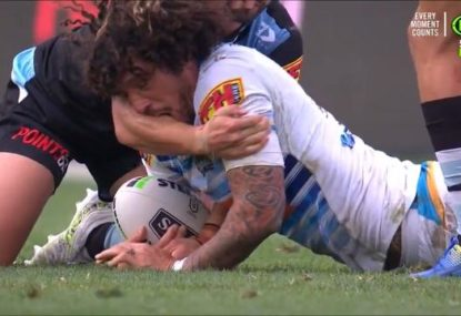 Extraordinary scenes as Kevin Proctor sent off after appearing to BITE Shaun Johnson