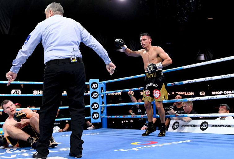 Tim Tszyu knocks down Jeff Horn