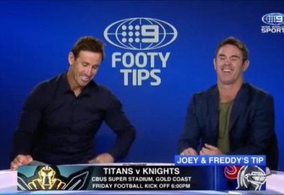 Joey's cheeky 'Botox' dig at Brad Fittler leaves Freddy in stitches