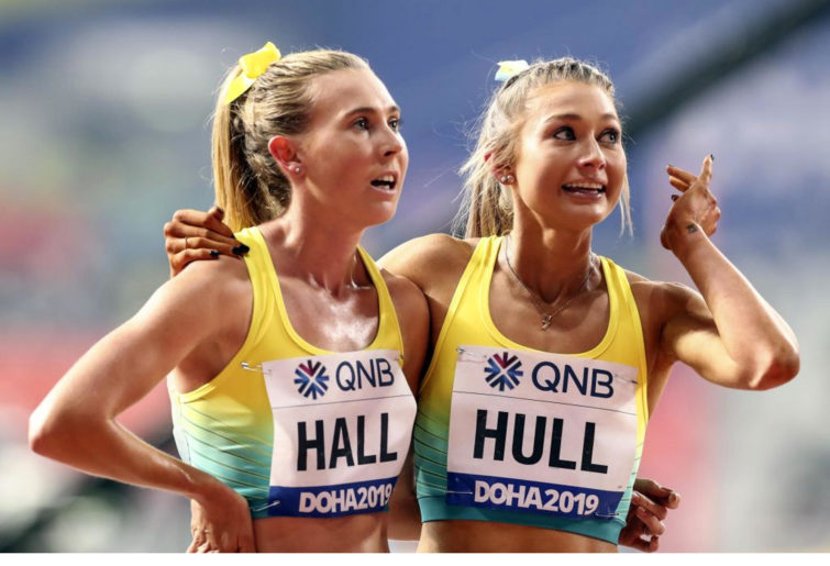 Jessica Hull (R) and Linden Hall (L) of Australia compete in the Women's 1500m semi final race during the 17th IAAF World Athletics Championships Doha 2019 on October 03, 2019 in Doha, Qatar.