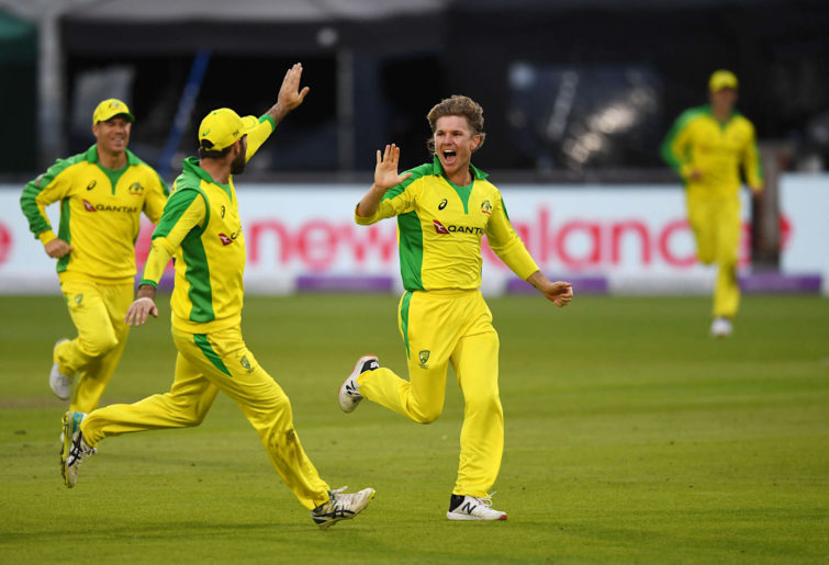 Adam Zampa of Australia celebrates a wicket
