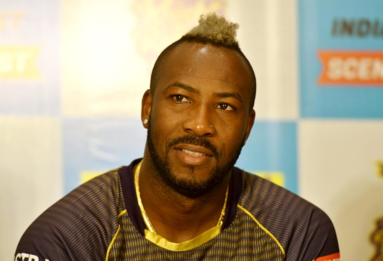 Andre Russell in a press conference