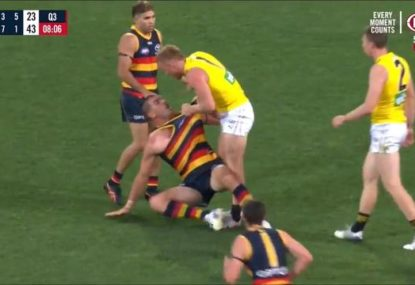 Nick Vlastuin absolutely gives it to Tex Walker after dangerous tackle