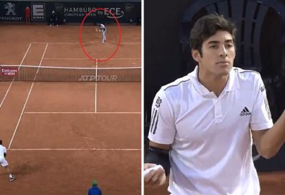 Tennis player cracks it after copping Kyrgios-esque underarm serve