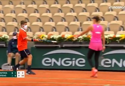 Bizarre scenes as tennis player forced to use her COACH's racquet at the French Open