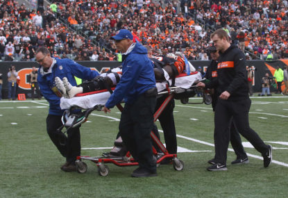 Tony McRae after suffering a concussion