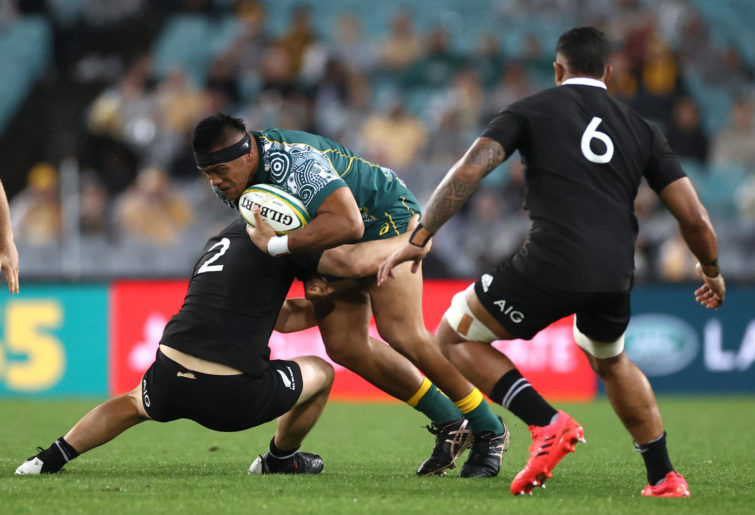 Allan Alaalatoa of the Wallabies charges forward during the 2020 Tri-Nations and Bledisloe Cup match between the Australian Wallabies and the New Zealand All Blacks