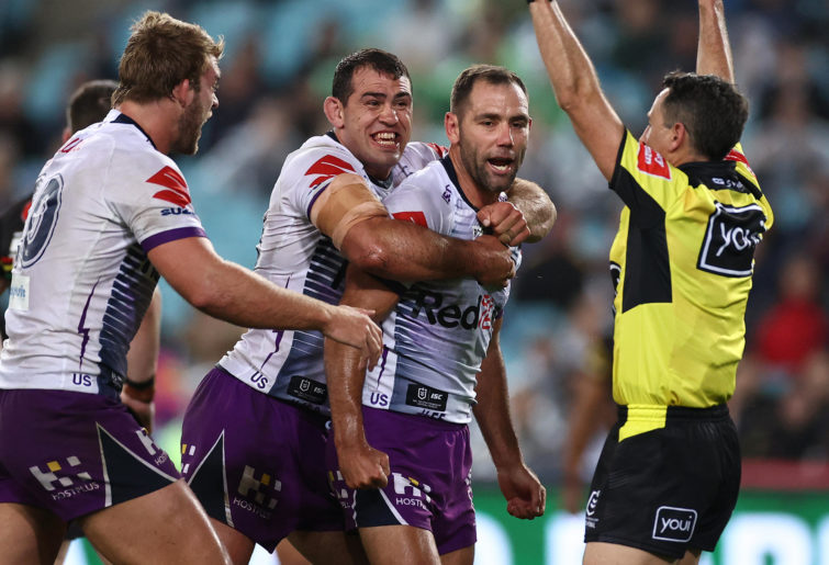 Cameron Smith of the Storm celebrates