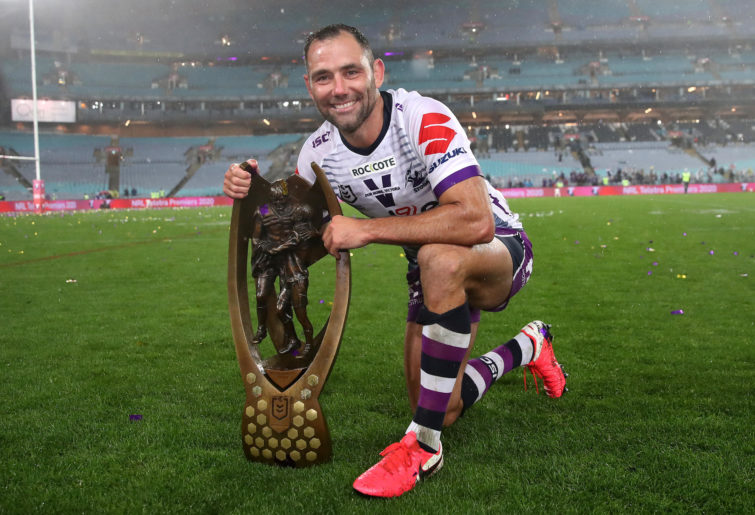 Cameron Smith of the Storm poses with the Premiership trophy