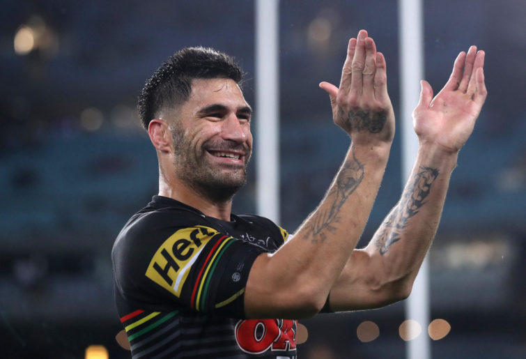 James Tamou of the Panthers thanks the crowd